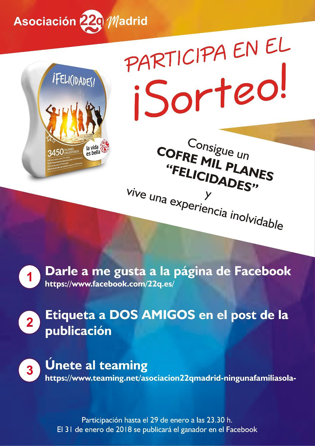 Cartel sorteo experiencia Asociación 22q Madrid